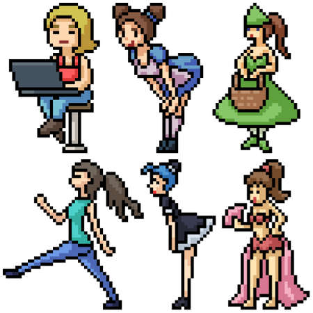 pixel art set isolated lovely woman
