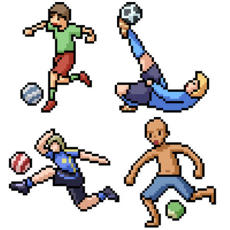 pixel art set isolated football player