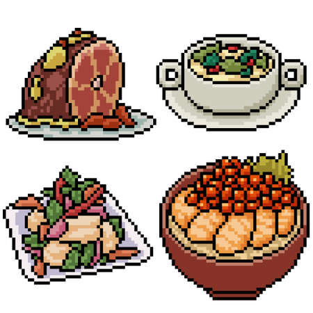 pixel art set isolated asian restaurant