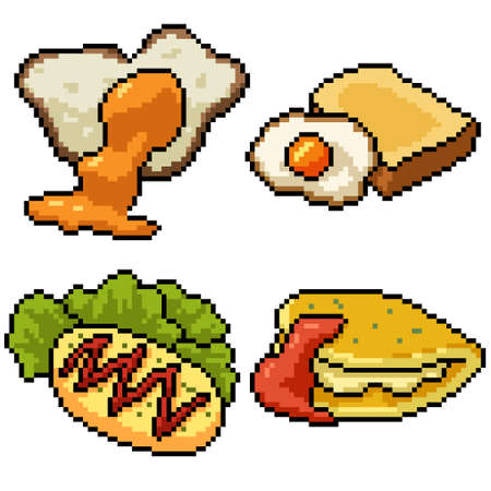 pixel art set isolated egg meal