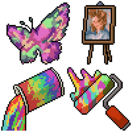 pixel art set isolated artictic painting Illustration