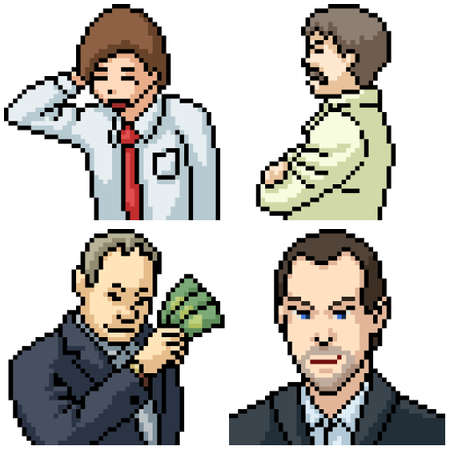 pixel art set isolated office business man Illustration