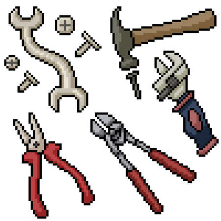 pixel art set isolated house tool Illustration
