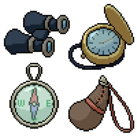 pixel art set isolated old travel tool Illustration