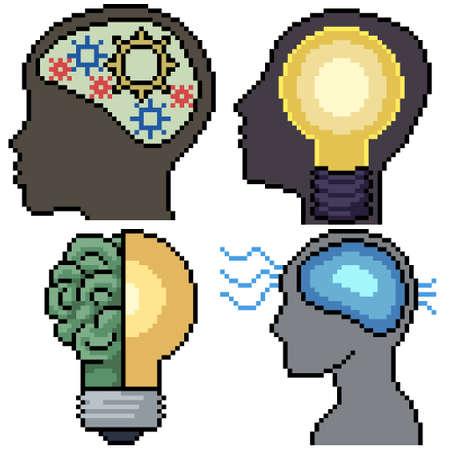 pixel art set isolated intelligent brain