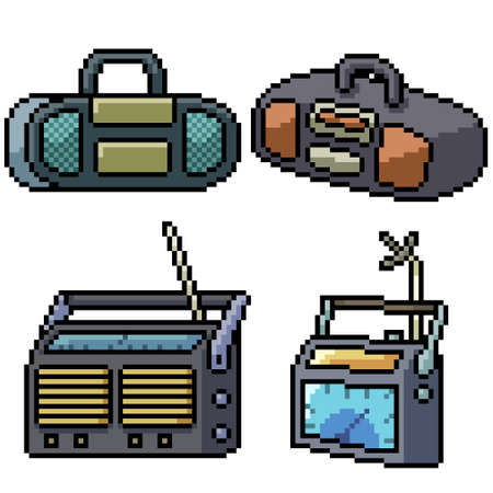pixel art set isolated old radio Illustration