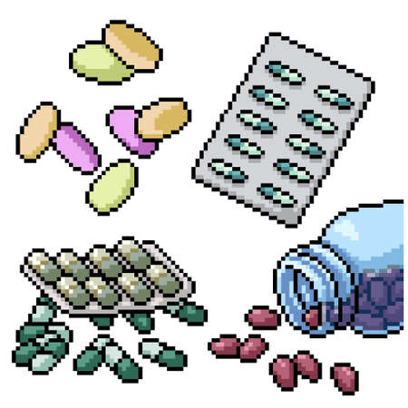 pixel art set isolated hospital pill