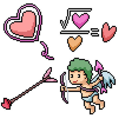 pixel art set isolated love cupid