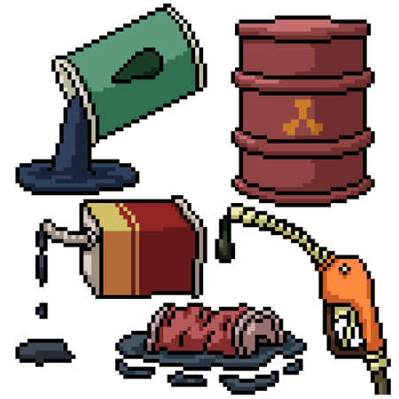 pixel art set isolated oil waste
