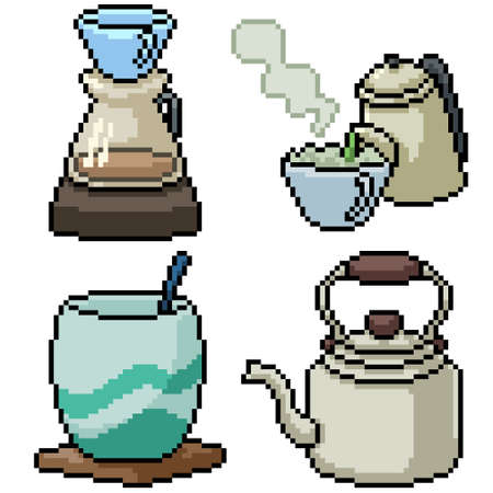 pixel art set isolated hot drink