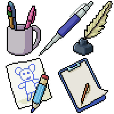 pixel art set isolated pen stationery