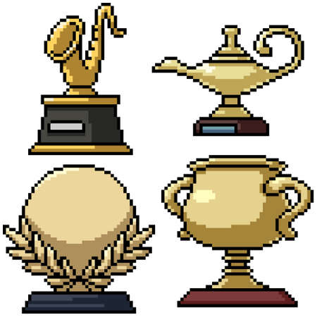 pixel art set isolated gold trophy Illustration