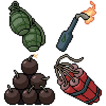 pixel art set isolated bomb weapon
