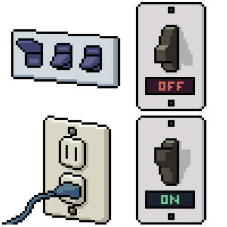 pixel art set isolated house electricity