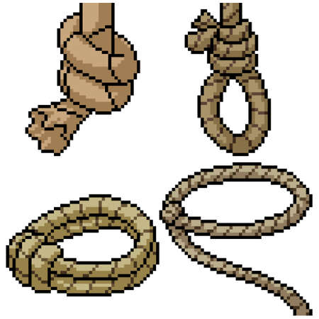 pixel art set isolated cowboy rope