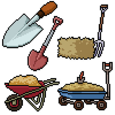 pixel art set isolated farm tool Illustration
