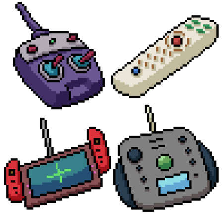 pixel art set isolated remote control