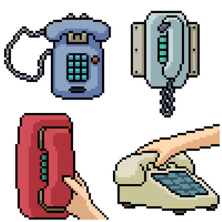 pixel art set isolated classic telephone