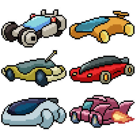pixel art set isolated future car
