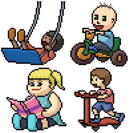 pixel art set isolated kid playing