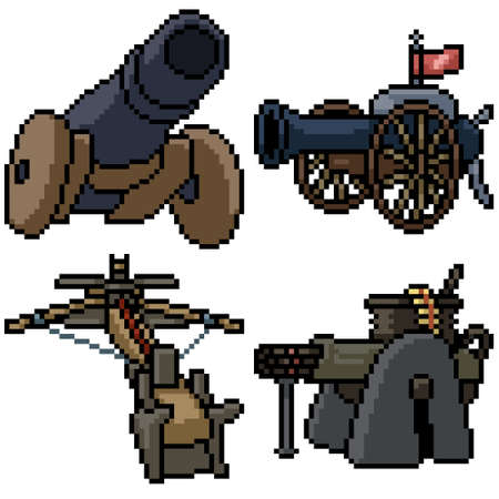 pixel art set isolated cannon turret