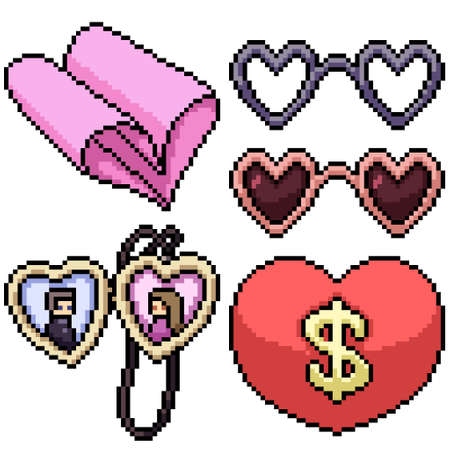 pixel art set isolated valentine gadget Illustration