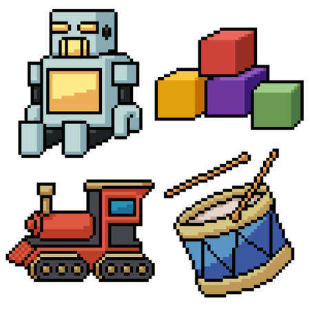 pixel art set isolated kid toy Illustration