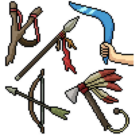 pixel art set isolated ancient weapon