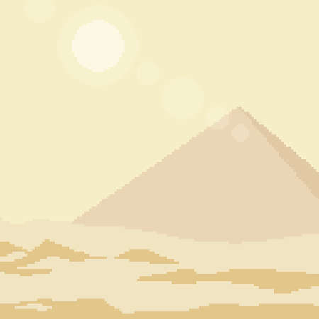 pixel art desert pyramid square background