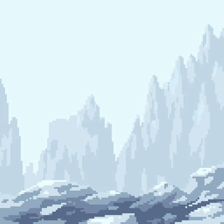 pixel art iceberg square background Illustration
