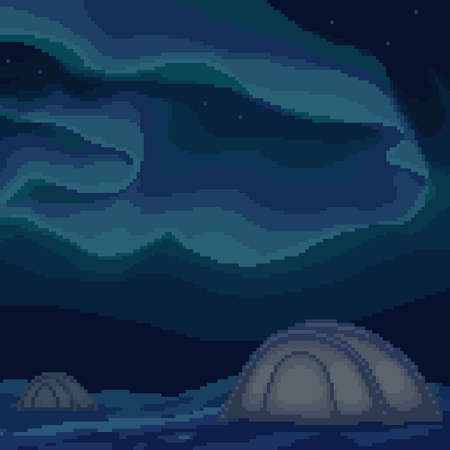 pixel art northern light camp square background