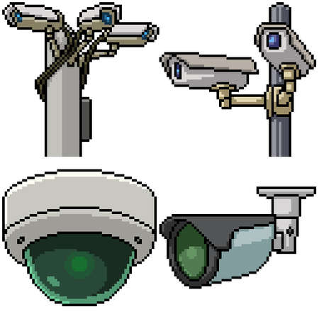 pixel art set isolated security camera