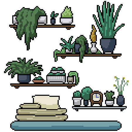 pixel art set isolated plant shelf decoration