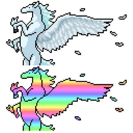 pixel art set isolated pegasus rainbow