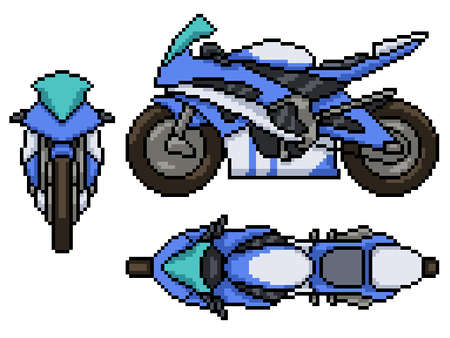 pixel art set isolated modern motorcycle