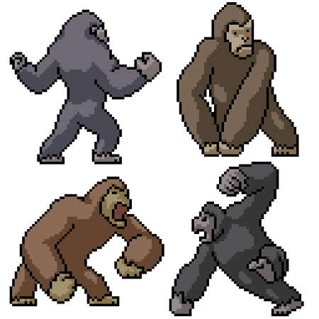 pixel art set isolated strong kong Illustration