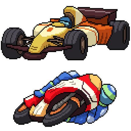 pixel art set isolated race car