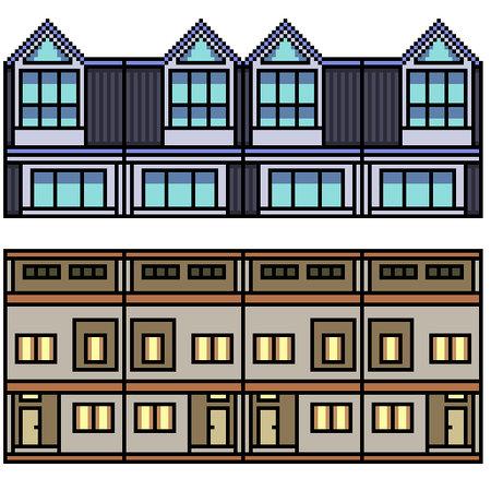 pixel art set isolated town home loop 矢量图像