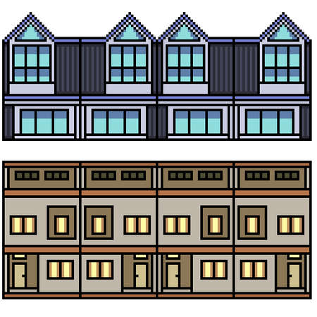 pixel art set isolated town home loop Illustration