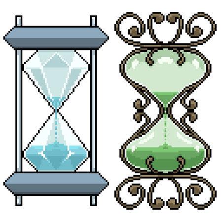 pixel art set isolated hourglass design