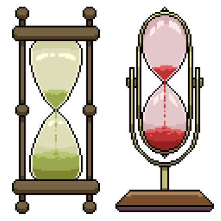 pixel art set isolated hourglass timer