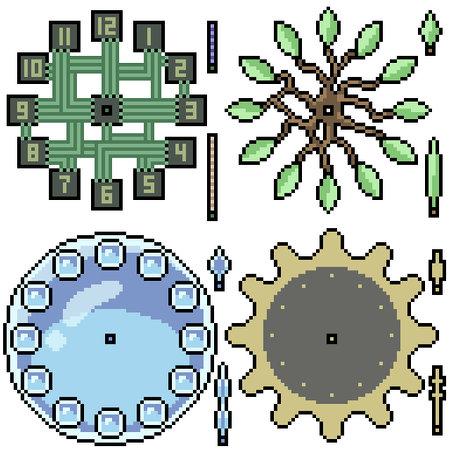 pixel art set isolated fancy clock design 矢量图像