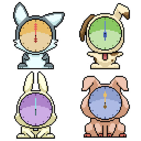 pixel art set isolated animal clock