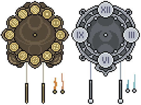pixel art set isolated fantasy clock Illustration