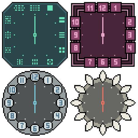 pixel art set isolated clock design