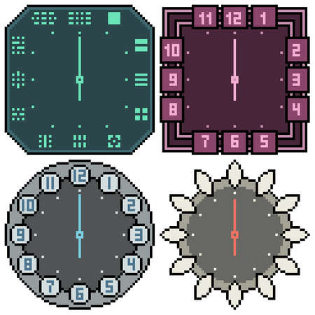 pixel art set isolated clock design