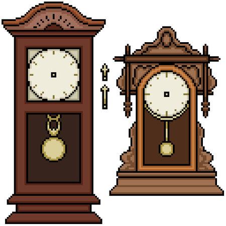 pixel art set isolated antique clock 矢量图像