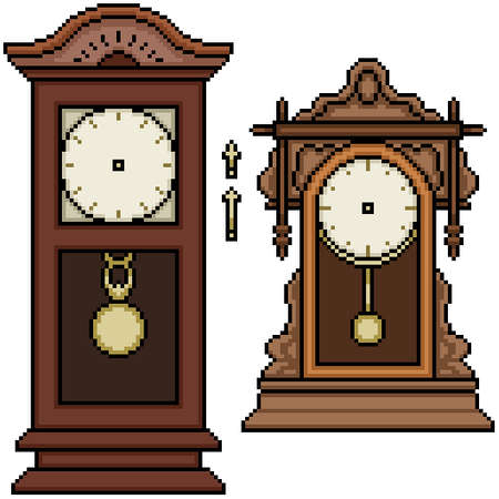 pixel art set isolated antique clock Illustration