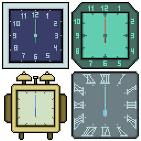 pixel art set isolated clock rectangle design