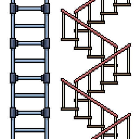 set of pixel art isolated stair loop 矢量图像